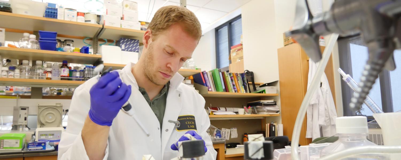 Postdoctoral student Jens Schmidt works in lab