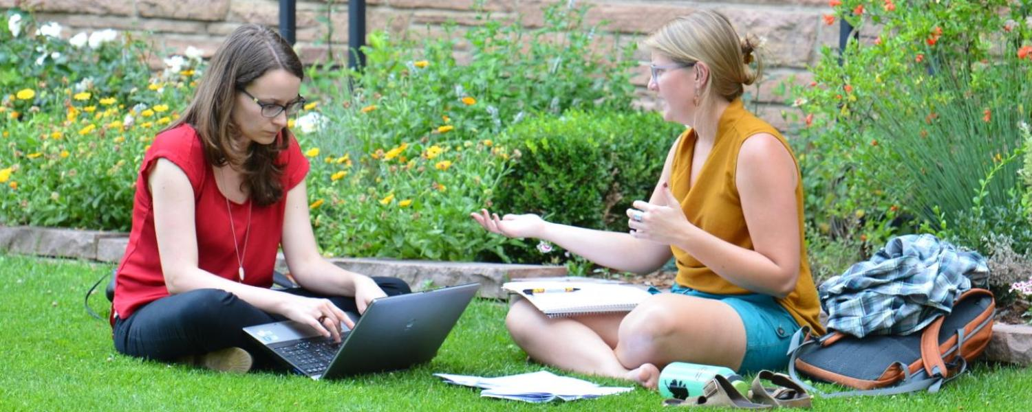 Two women sitting on lawn and working on laptop