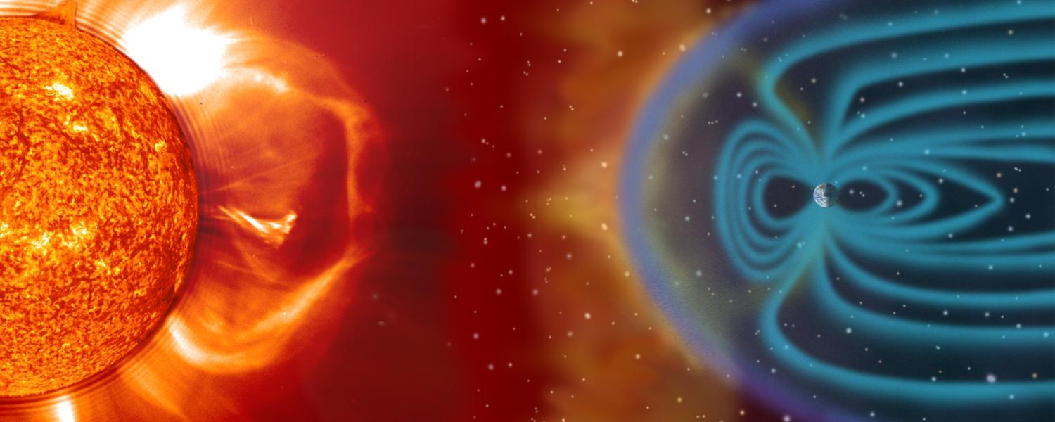 A graphic illustrating how massive ejections of energy from the sun slam run into Earth's magnetosphere, a protective shield created by our planet's magnetic field.