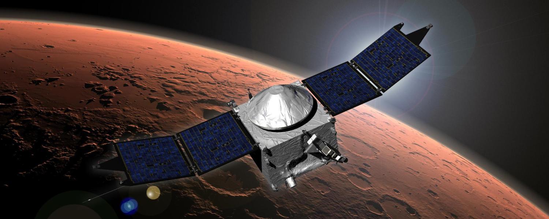 Artist's depiction of MAVEN in orbit around Mars