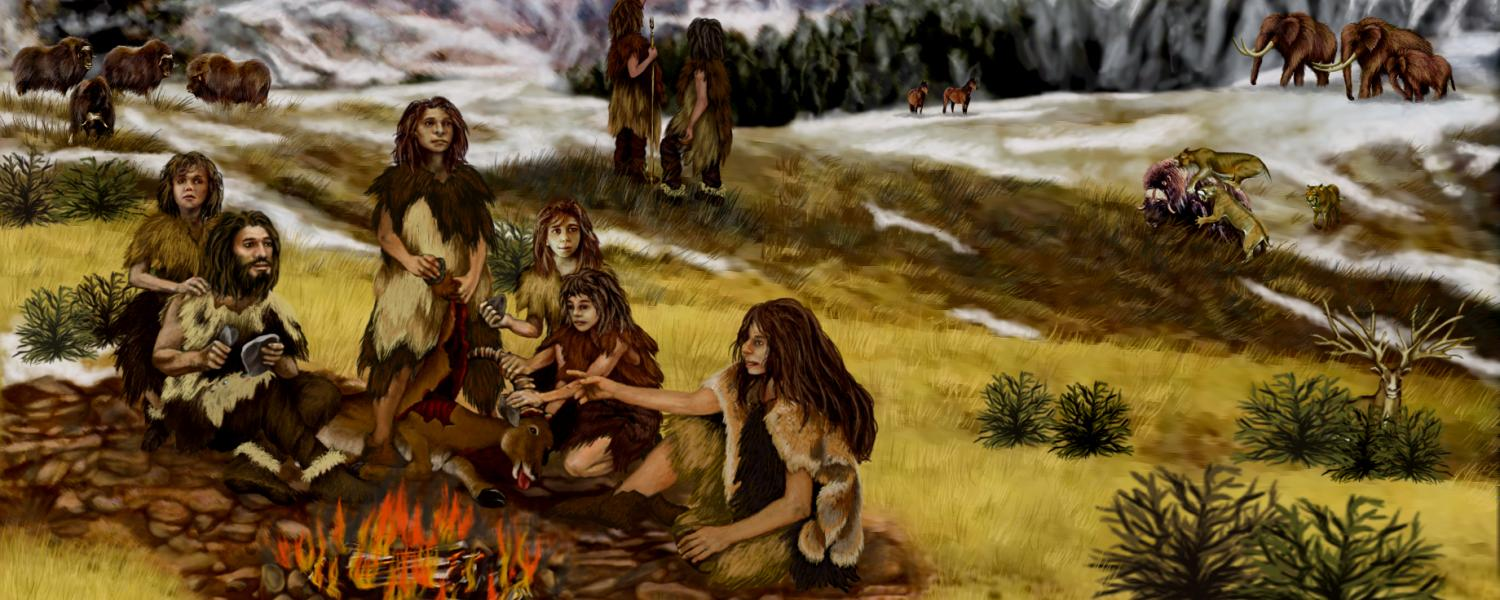 Illustration of Neanderthals around a fire