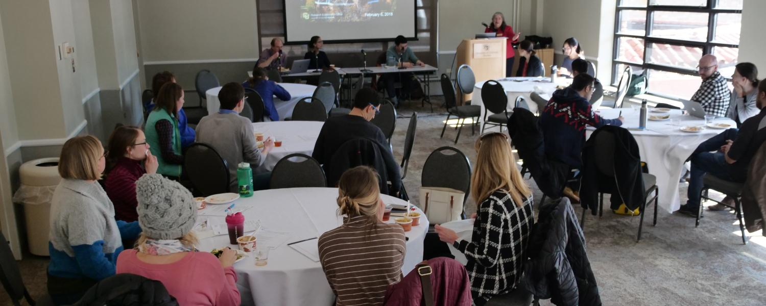 Campus community members interact at an NSF workshop