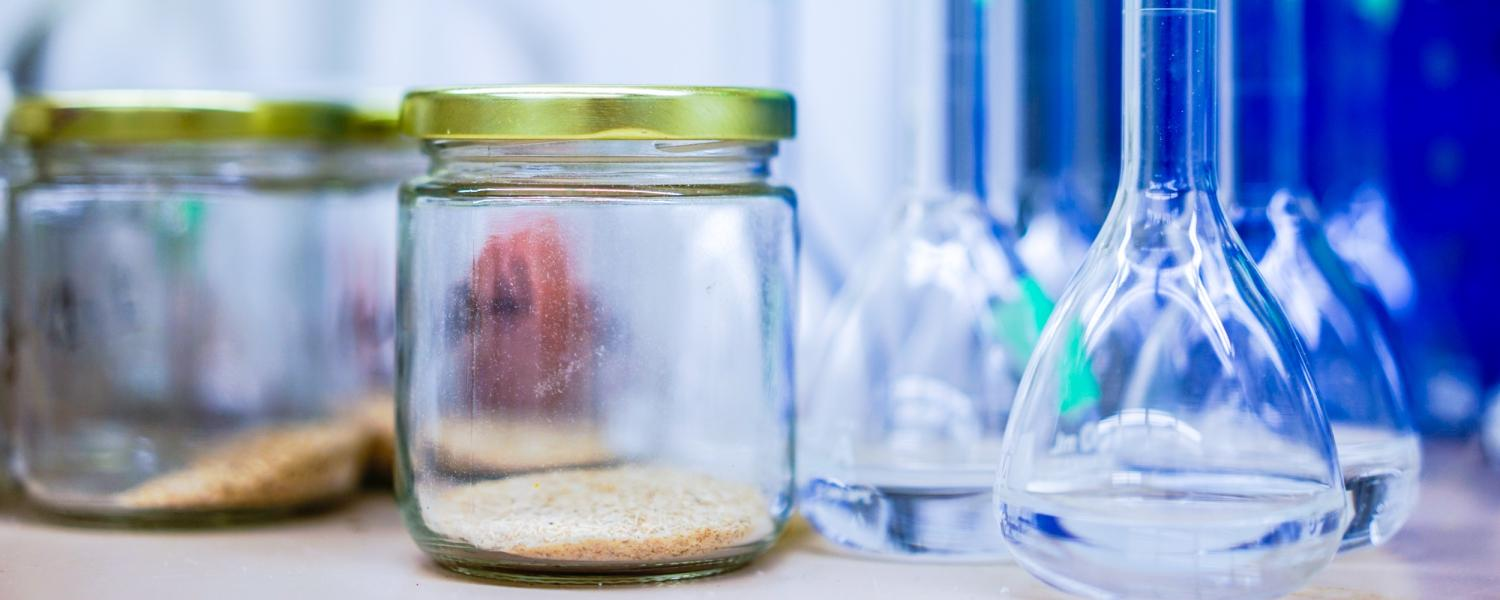 Jars and beakers containing various materials