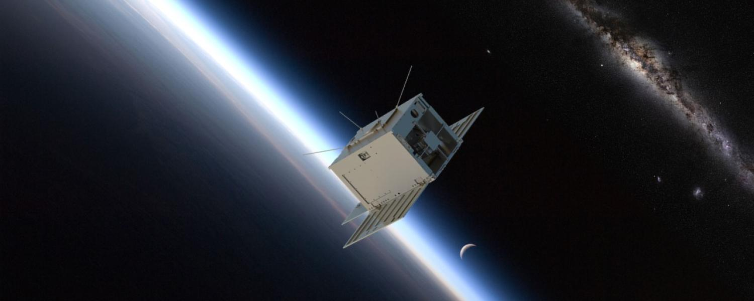 Artist's depiction of the SPRITE CubeSat orbiting Earth.