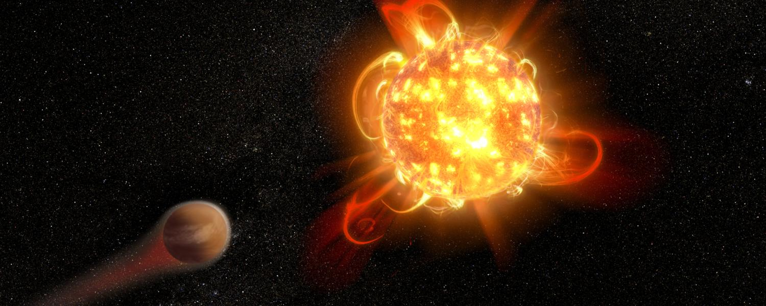 An artist's depiction of a superflare on an alien star.