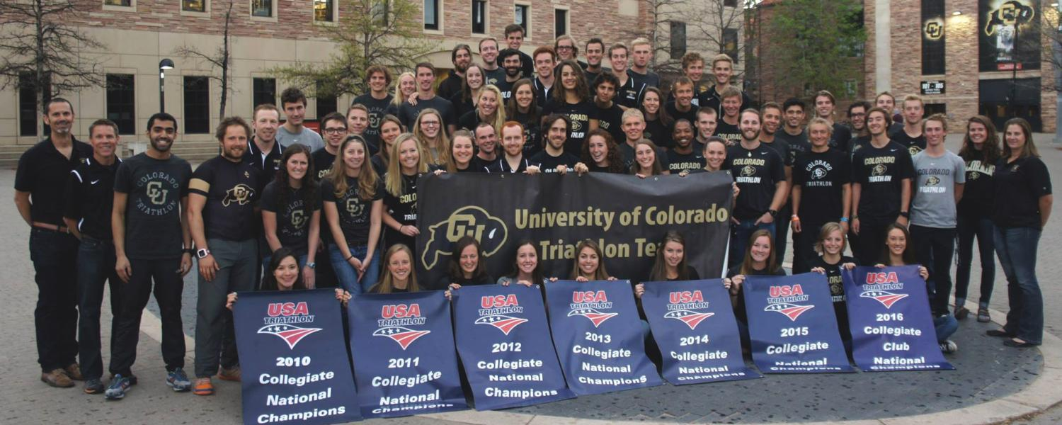 CU triathlon team on campus