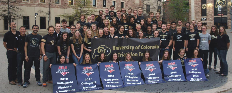 CU triathlon team on campus