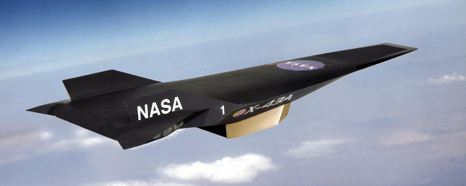 Artist's depiction of NASA's X-43A aircraft in flight
