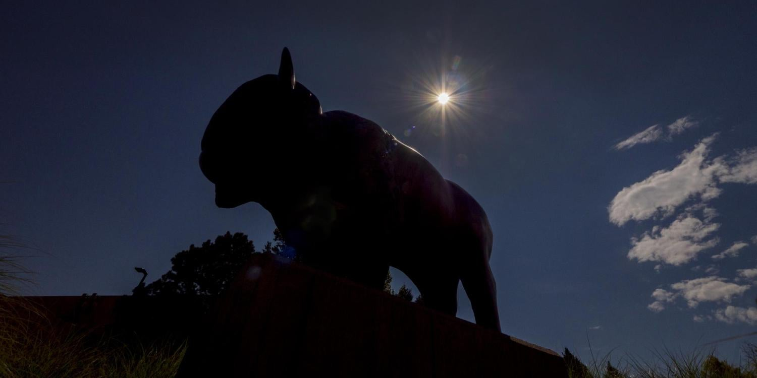 Buffalo statue with eclipsed sun behind