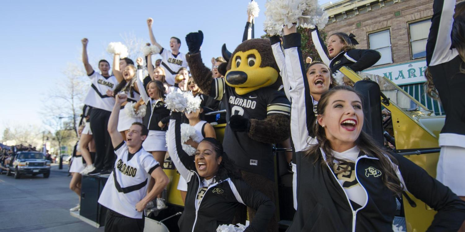 Chip and CU cheerleaders root for the Buffs