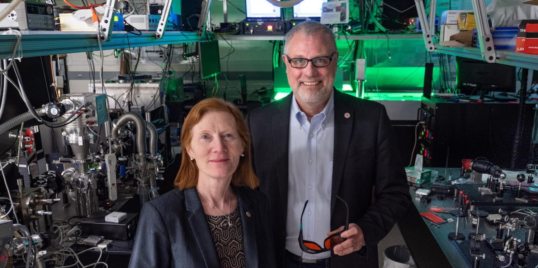 Henry Kapteyn and Margaret Murnane in their lab at JILA