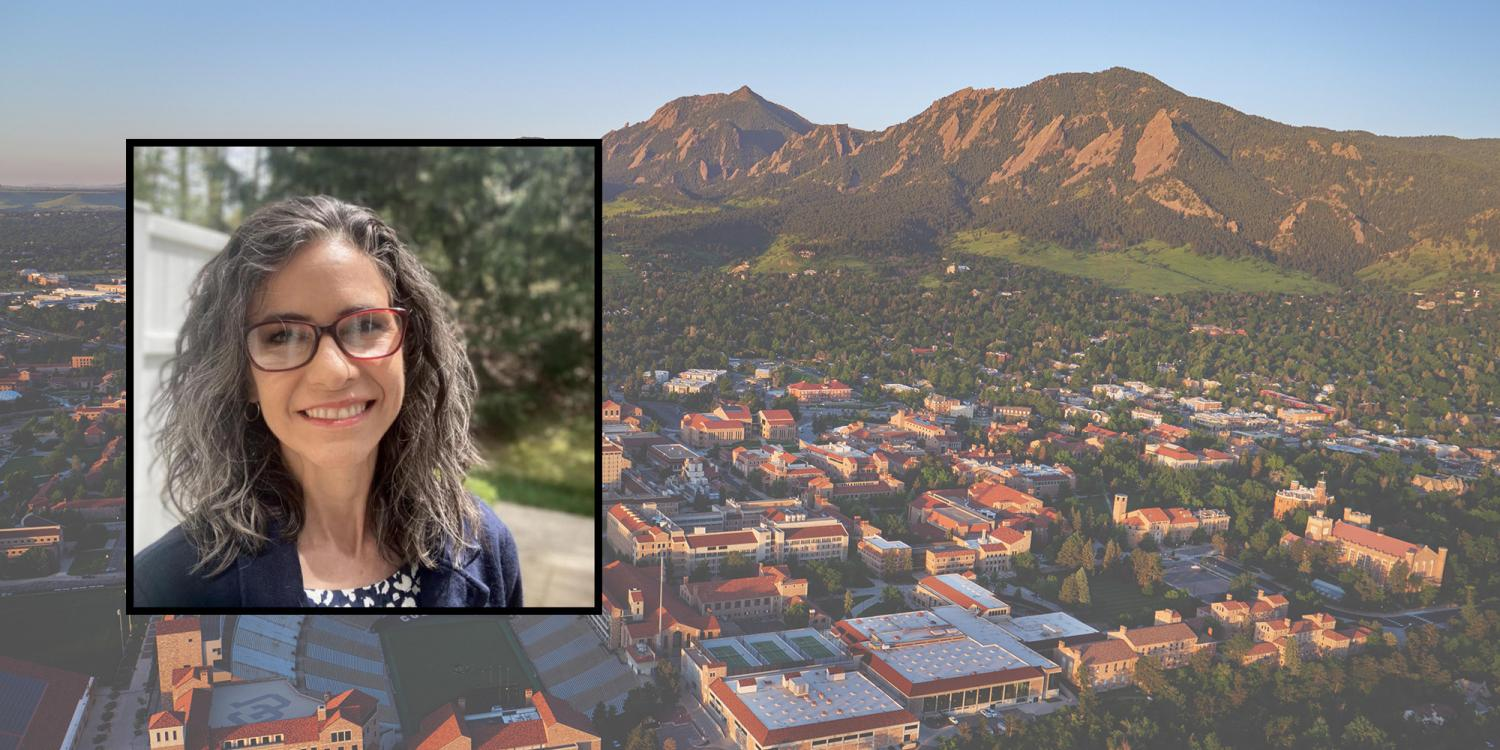 Sonia DeLuca Fernández's photo in front of an aerial photo of CU Boulder Campus