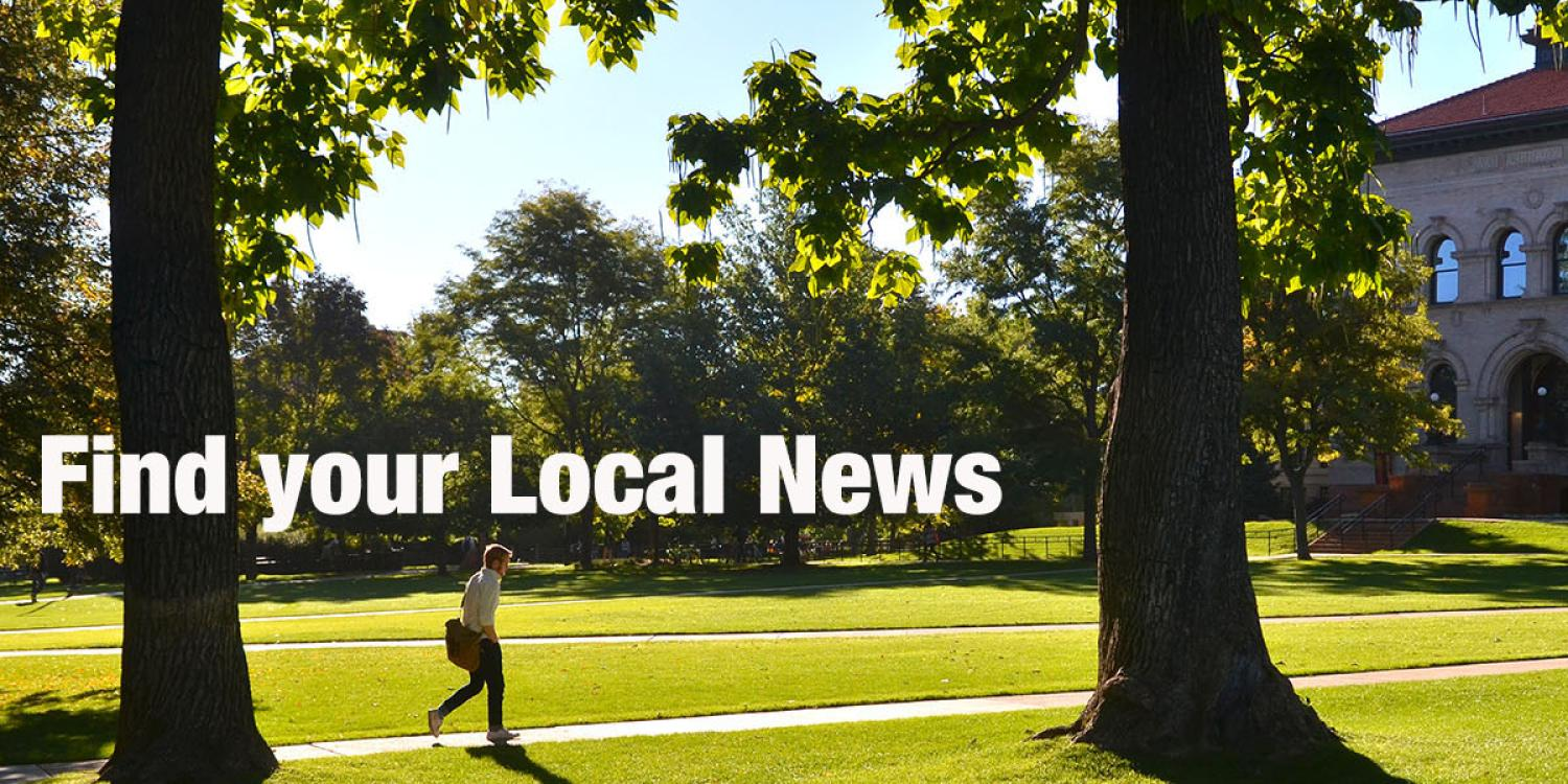 """Image of campus trees on Norlin Quad with """"Find your local news"""" text"""