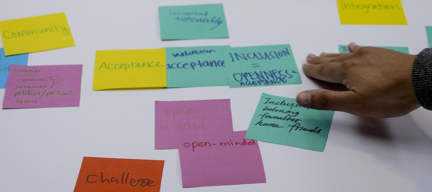 Sticky notes describe some of the aspects of inclusiveness: Community, acceptance, challenge, open-minded, belonging