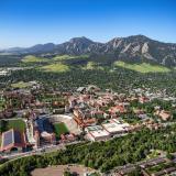 aerial shot of CU Boulder campus