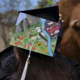 painted graduation cap with giant stuffed Buffalo in the background