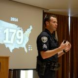 CU Boulder Police Sgt. John Zizz teaches an Active Harmer Class at the UMC Feb. 8, 2017