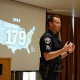 CU Boulder Police Sgt. John Zizz teaches an active harmer class at the UMC on Feb. 8, 2017.