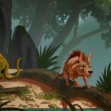 Artist's depiction of three new species of fossil condylarths: From left to right, Conacodon hettingeri, Miniconus jeanninae and Beornus honeyi. (Credit: Banana Art Studio)