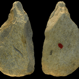 Pointed tool made from elephant bones seen from both sides