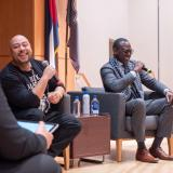 """Yusef Salaam, right, and Raymond Santana, two of the five """"Exonerated Five"""" who were wrongly convicted of a brutal attack on a Central Park jogger answered questions during an informal Cultural Events Board talk at the University Memorial Center on March 10. 2020. (Photo by Glenn Asakawa/University of Colorado)"""