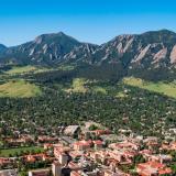 CU Boulder campus and Flatirons aerial photo