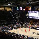 The CU men's basketball team plays an opponent at the CU Events Center.