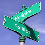 Crossroads sign for Religion and Politics