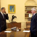 Former White House counsel Gregory B. Craig (right) with President Obama
