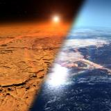 An image showing Mars and Earth