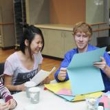 Students do crafts at International Coffee Hour