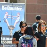 Photo of students at the fall Be Involved Fair at the UMC fountain.