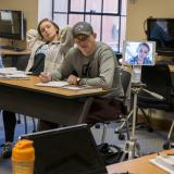 Student attends class via Kubi device