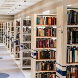 Stock image of library shelves