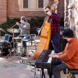 music students practicing outside on campus
