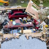 Aerial photo of destroyed home