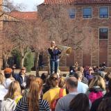 Graduate student Liz Marascospeaks at a rally on campus Wednesday, Nov. 29.