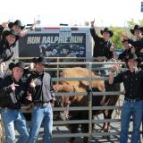 Ralphie handlers pose for photo with Ralphie the Buffalo