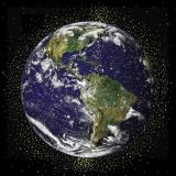 Image of the globe surrounded by satellites
