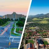 Aerial views of the CU Anschutz Medical Campus and CU Boulder