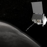 An illustration depicts the OSIRIS-REx craft near the Bennu asteroid.