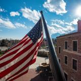 A United States flag at the UMC building.