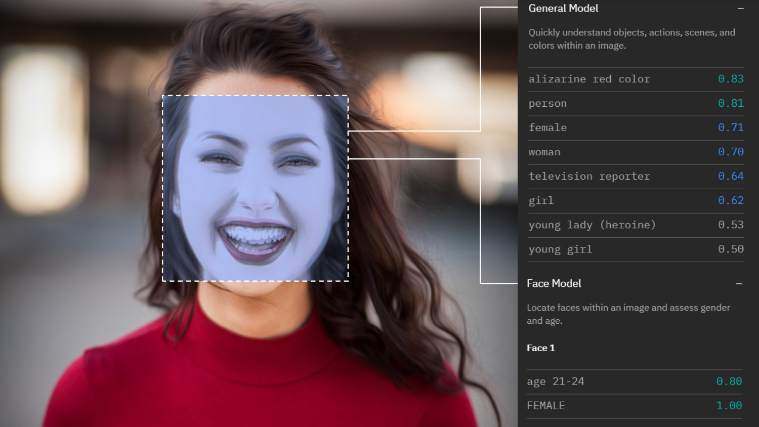 A woman seen through facial recognition softare
