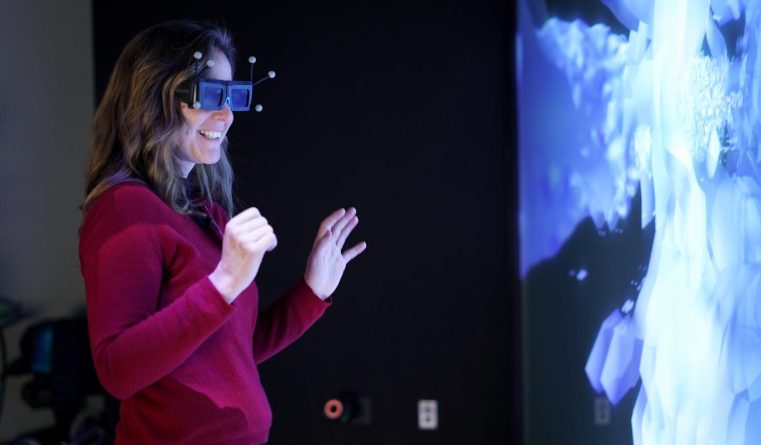 Scripps fellow wearing augmented reality goggles