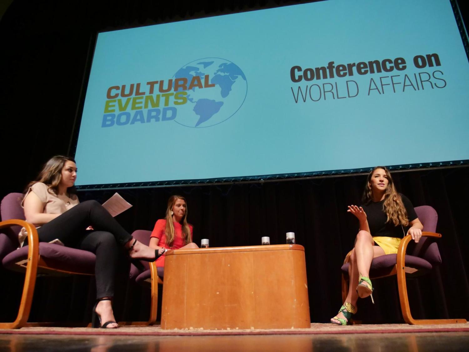 Aly Raisman on stage at Conference on World Affairs