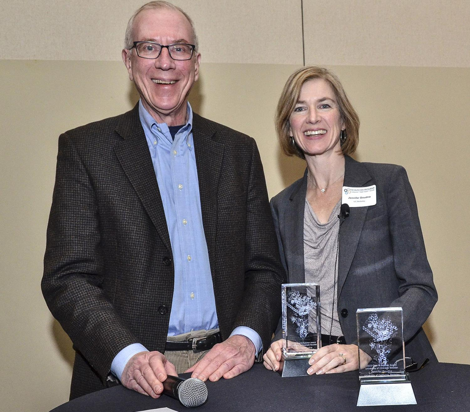 Jennifer Doudna and Tom Cech in 2015