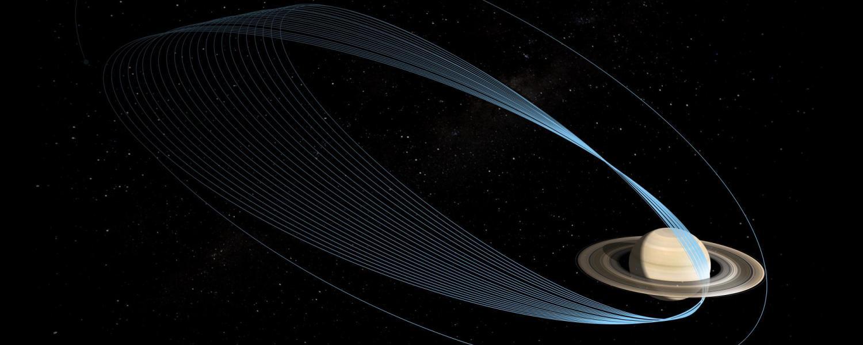 Rendering of Cassini and Saturn