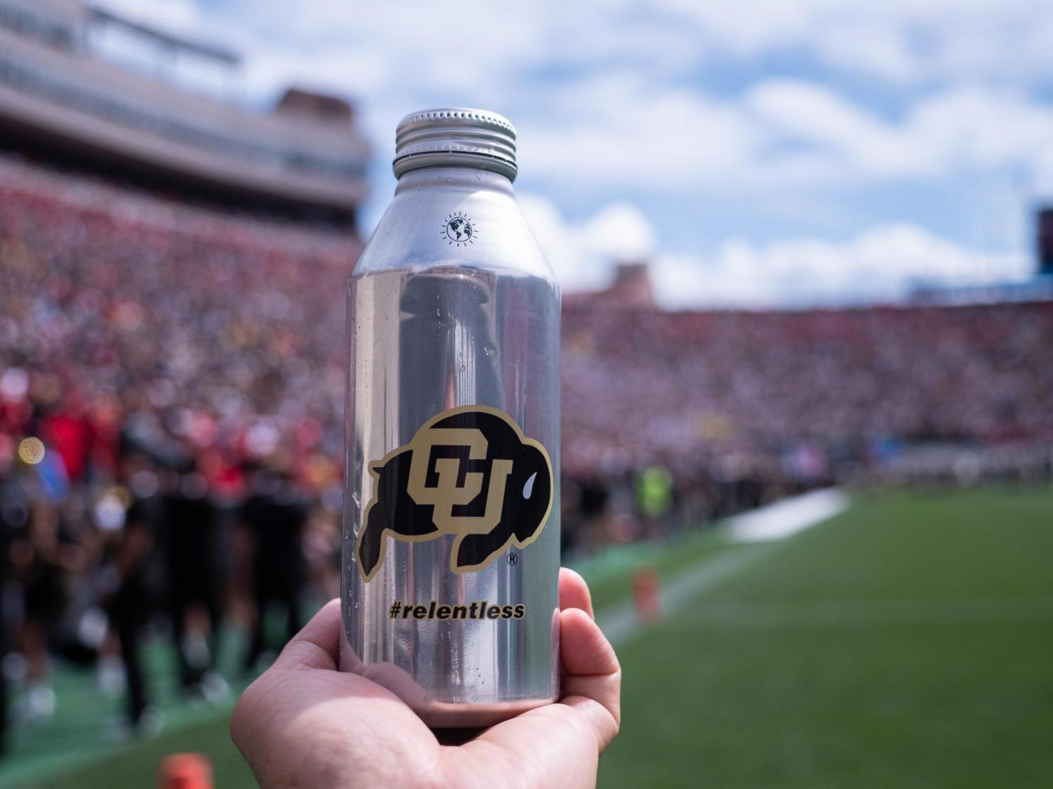 Aluminum water bottle by Ball Company as shown during the CU-Nebraska game on Sept. 7, 2019.