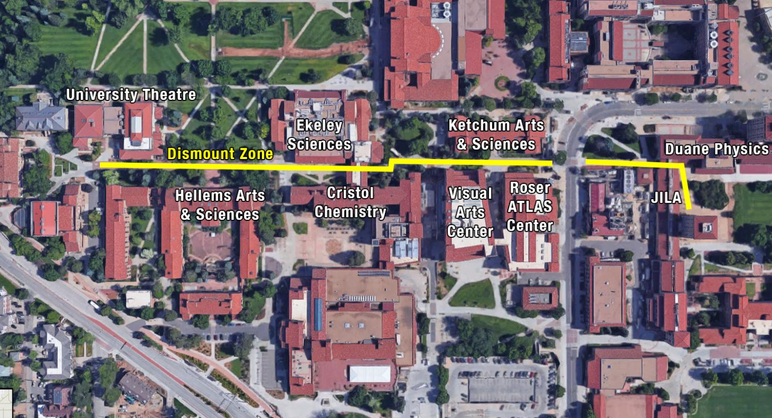 Engine Alley dismount zone starting at the University Theatre and Museum Collections plaza moving east to the JILA and Duane Physics breezeway