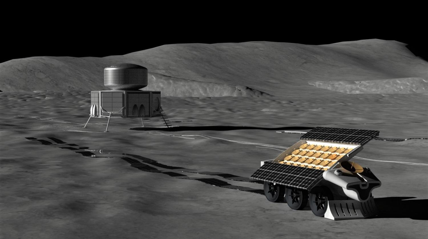 Artist's depiction of a robot laying out an antenna on the lunar surface.